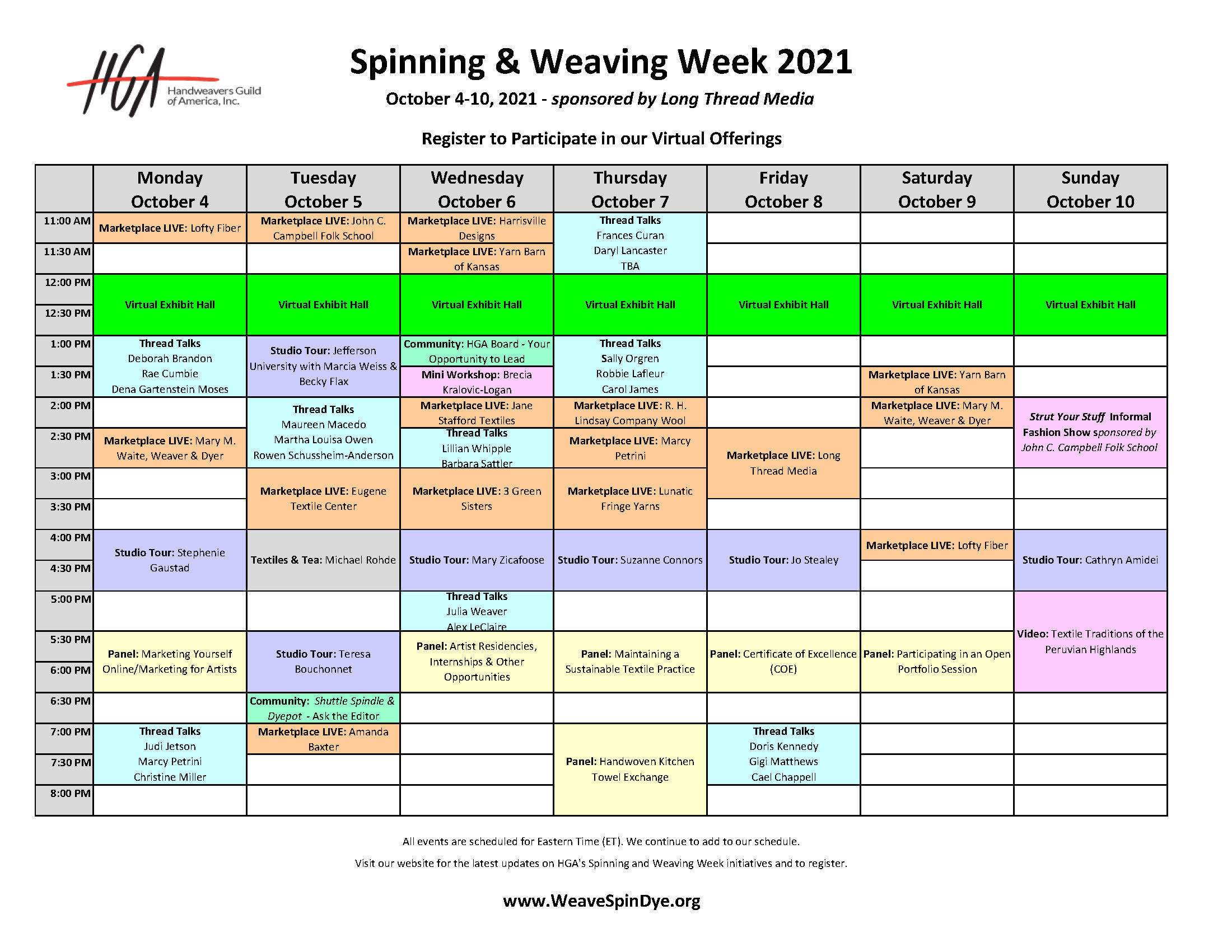 Spinning and Weaving Week 2021 Schedule